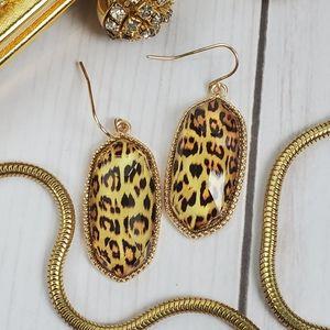 Faceted gold Elle Leopard animal drop earrings
